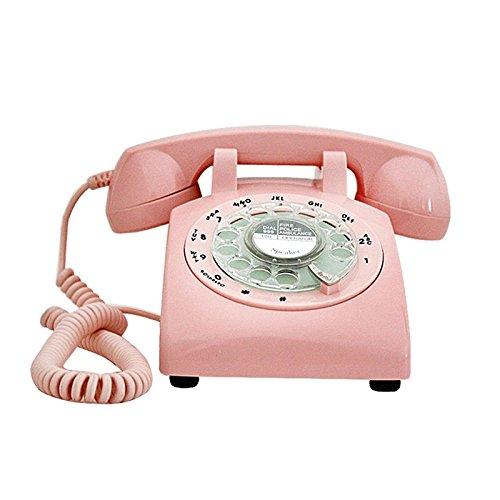 YSNUK Teléfono de la Placa giratoria del Vintage, teléfono Retro rotatorio del teléfono de la casa Antigua de la Oficina Fija de la Campana Fija del Metal del teléfono Fijo Teléfono rotatorio
