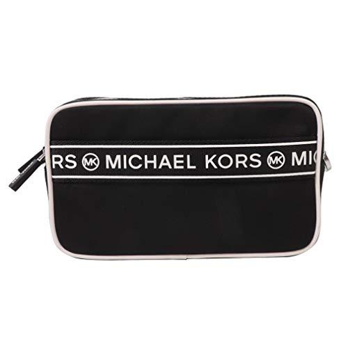 Michael Kors Logo Sport Tape Kenly Small Double Zip Camera Crossbody Bag (Black/White)