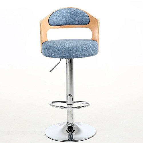 Guo shop- Chaise Retro Iron Chair Fauteuil Rotatif Tabouret de Bar, Restaurant Tabouret Chaise en Bois Coloré Creative Wooden Back, Coussin en Lin Coton, Pieds de Chaise Electroplating Bonne chaise