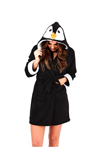 Loungeable, Ladies Luxury Hooded Novelty Fun Gift 3D Animal Robe, Penguin, X-Large