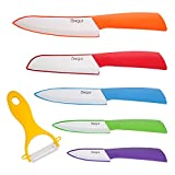 Ceramic Knife Set - 6 Piece kitchen Set of Knives Ceramic Set with Sheath Covers & Ceramic Peeler – Anti-Bacterial Blade Knives - Includes Paring, Fruit, Utility, Chef & Bread Knife – By CINQUS
