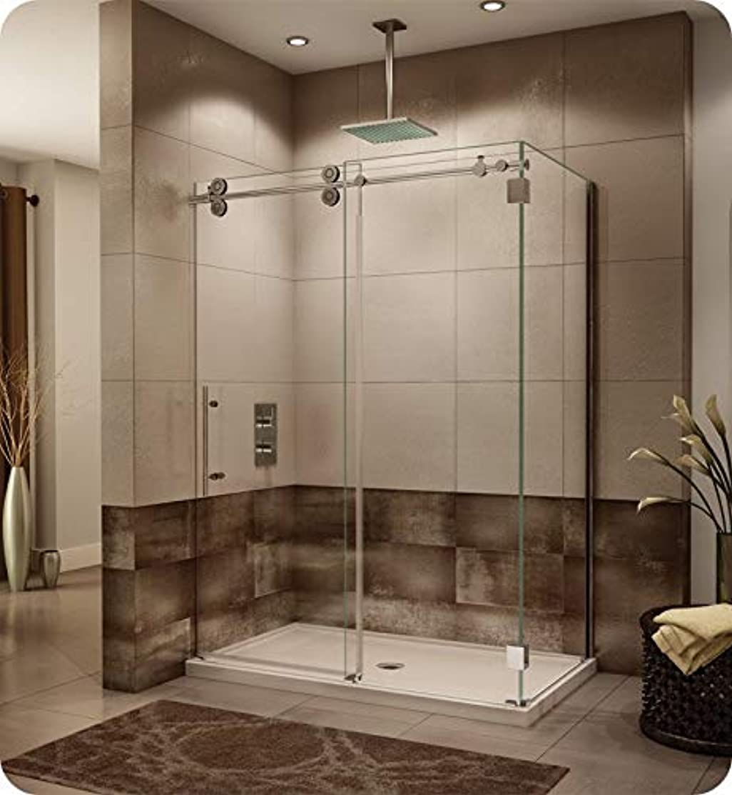 Fleurco KTWR5748-11-40L-AH Kinetik In-Line Sliding Shower Door Left with Fixed and Return Panel in Polished Stainless/Clear Glass Handles:Straight Flat Towel Bar