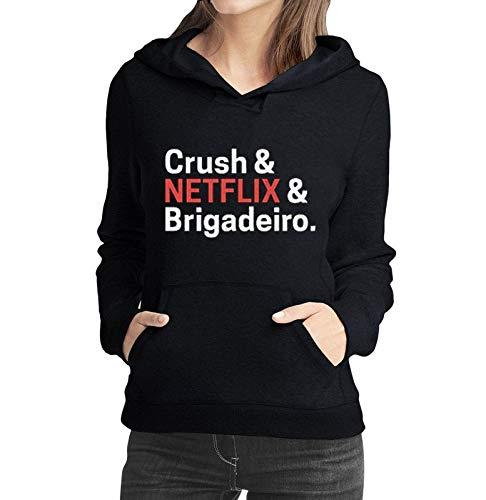 Moletom Feminino Crush Net Flix Brigadeiro Filmes e Séries - Moletons Personalizados Blusa/Casacos Baratos/Blusão/Jaqueta Canguru (preto, gg)