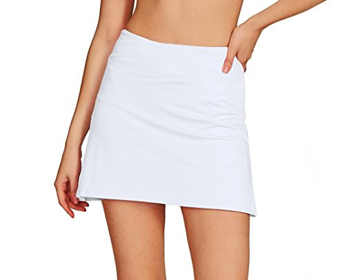 Cityoung Women's Casual Pleated Tennis Golf Skirt with Underneath Shorts Running Skorts wh m White