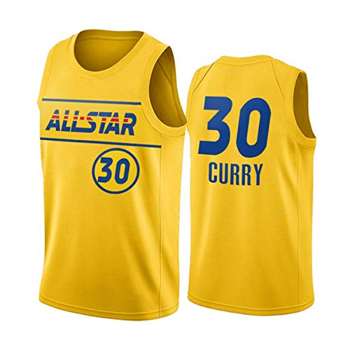 ATI-HSKJ Maglie da Basket NBA, 2021 Basketball all-Star Stephen Curry # 30 Jersey Cool Tessuto Traspirante Swingman Senza Maniche Canotta Top Abbigliamento,XL(180~185CM/85~95KG)