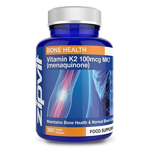 Vitamin K2 MK7 Menaquinone 100mcg, 360 Vegan Tablets. Supports Bone Health.