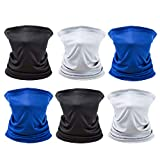 [6 Pack] Unisex Sun UV Protection Face Bandana, Reusable Cloth Half Mask Scarf for Cycling Motorcycle Hiking, Breathable Neck Gaiter Balaclava for Men Women(Black&Light Gray&Blue)