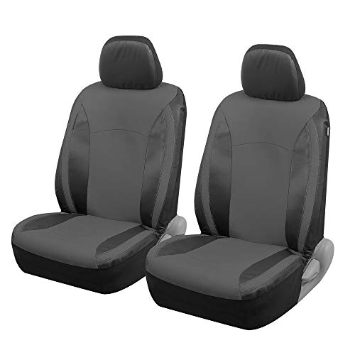 Motor Trend M424 Gray Faux Leather Car Seat Covers for Front Seats Only – Premium Automotive Bucket Seat Covers, Made for Vehicles with Removable Headrests, Universal Fit for Car Truck Van SUV