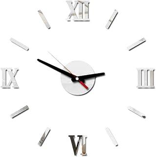VOSAREA Reloj de Pared sin Marco Adhesivo DIY Adhesivo acrílico 3D Reloj de Pared silencioso (Plata)
