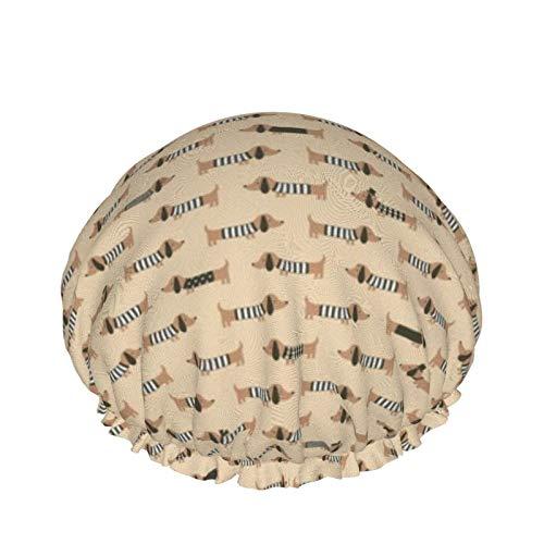 Gorro de ducha para mujer reutilizable impermeable sombrero de baño largo y grueso (perro de salchicha de lujo (marrón))
