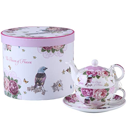 London Boutique Tea for One Teekanne Tasse Suacer Set Vintage Flora Rose Lavendel Porzellan Geschenkbox Vogel Rose Schmetterling