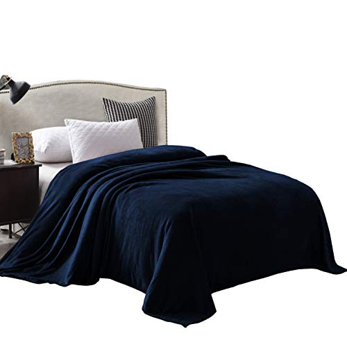 Exclusivo Mezcla Velvet Flannel Fleece Plush Queen Size Bed Blanket as Bedspread/Coverlet/Bed Cover (90' x 90', Navy Blue) - Soft, Lightweight, Warm and Cozy