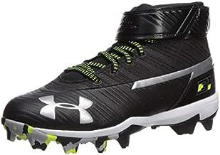 Under Armour Boys' Harper 3 Mid Jr. RM Baseball Shoe, Black (001)/White, 6