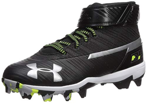 Under Armour Boy's Harper 3 Mid Jr. RM Baseball Shoe, Black (001)/White, 4.5