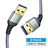 AINOPE [2 Pack 6.6FT+6.6FT] USB 3.0 A to A Male Cable,USB 3.0 to USB 3.0 Cable [Never Rupture] USB Male to Male Cable Double End USB Cord Compatible with Hard Drive Enclosures, DVD Player, Laptop Cool