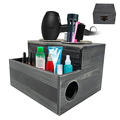 Wooden Hair Dryer Holder - Black Grooming Tool Caddy with Rustic Natural Wood Pattern - 2 Holes for Curling Iron, Blower and 1 Compartment for Salon, Styling Products (Black)