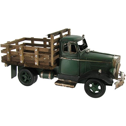 Toysdone Green Truck with Wooden Flat Bed Decor