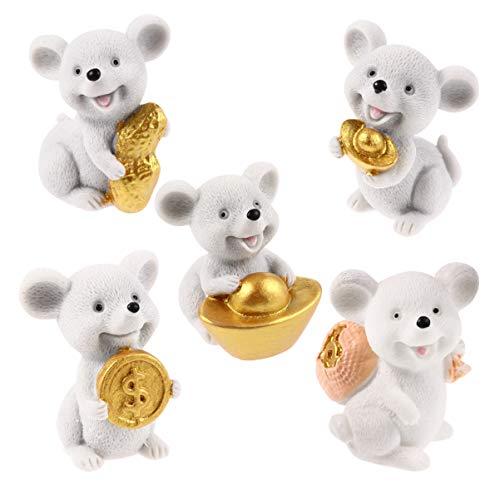 Toyvian 5 Stücke Harz Miniatur Maus Figuren Micro Landschaft Fee Garten Dekorationen Neue Jahr Maus Ratte Tierkreis Partei Bevorzugt Geschenke