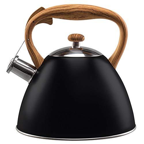 VILDE Wasserkessel 3L Modern automatisch GASHERD INDUKTION Wasserkocher Flötenkessel Holz-Farbe schwarz