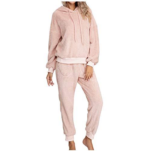 BOIYI Pijamas de Color Sólido Sudaderas con Capucha para Mujer, Ropa de Dormir de Fiestas Ropa de Dormir, con Mangas Largas, Traje de casa, Traje de Noche para Adultos