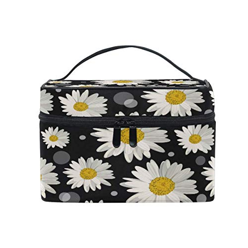 Makeup Bag, Summer Floral Dasiy Pattern Portable Travel Case Large Print Cosmetic Bag Organizer Compartments for Girls Women Lady