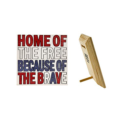 JennyGems - Home of the Free Because of the Brave - Wooden Patriotic Sign - Inspirational plaque - Wood Sign - Made in USA