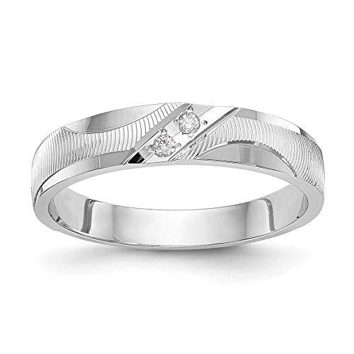 14k White Gold Diamond Trio Ladies Wedding Band Ring, Size 51 1/2