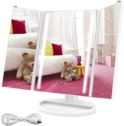 Draagbare tafelbladen Verstelbare LED-spiegel met 24 LED-lampjes Tri-Fold LED-spiegel 3x/2x vergroting Dubbele voeding 180 \u0026 deg; Instelbare rotatie voor verlichte make-upspiegel en LED-cosmetische spiegel-24 LED's