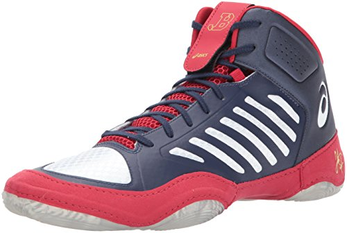 ASICS Men's JB Elite III Wrestling Shoe, Indigo Blue/White/Classic Red, 12 Medium US