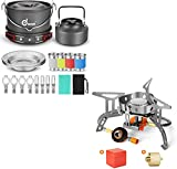 Odoland 22pcs Camping Cookware Mess Kit and 3500W Windrpoof Camp Stove Camping Gas Stove Kit