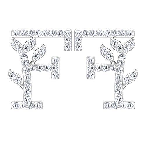 Pendientes iniciales antiguos, pendientes de letra del alfabeto F, HI-SI 1/4 CT diamante pendientes de tuerca, pendientes florales, pendientes personalizados, regalo de aniversario 18K Oro blanco, Par