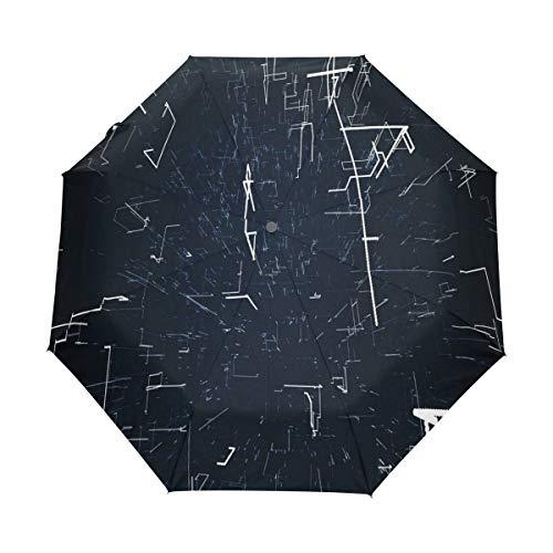 SUHETI Ombrello Portatile,Motion Graphic Nero Techno,Ombrello Pieghevole Automatico Antivento