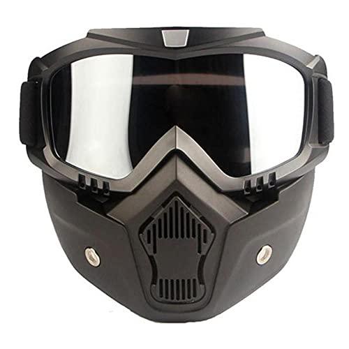 FSHB Gafas de esquí al Aire Libre, Gafas de esquí para Motos de Nieve de Invierno, Gafas de Sol de Motocross a Prueba de Viento con Filtro de Boca