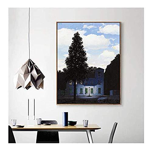 Impresión en lienzo Pintura Arte de la pared Impreso en lienzo Cuadros de pared para la decoración de la sala de estar El imperio de las luces 1954 Por Rene Magritte-50x75cm Sin marco