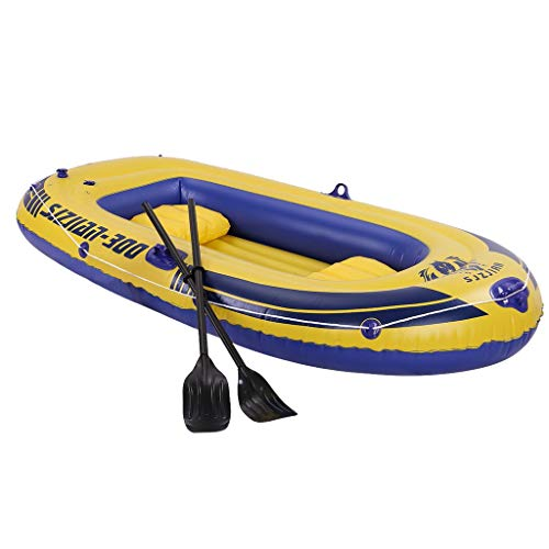 10ft Inflatable Boat Series Explorer Touring Kayak Canoe Boat Set 4-Person PVC Inflatable Rafting Fishing Dinghy Tender Pontoon Boat with Paddles and Air Pump for Water Sports Fun (M-Yellow)