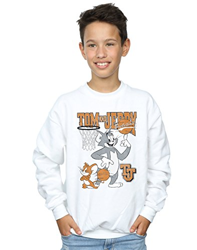 Absolute Cult Tom and Jerry Jungen Spinning Basketball Sweatshirt Weiß 7-8 Years