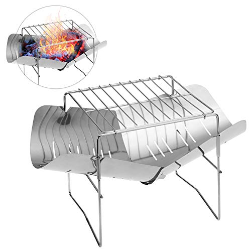 Roeam Camping Stove, 2-in-1 Draagbare Vouwen RVS Barbecue Grill Camp Firepit, Outdoor Camping Backpakcing Houten Brandende Fornuis voor Outdoor Wandelen Picknick BBQ
