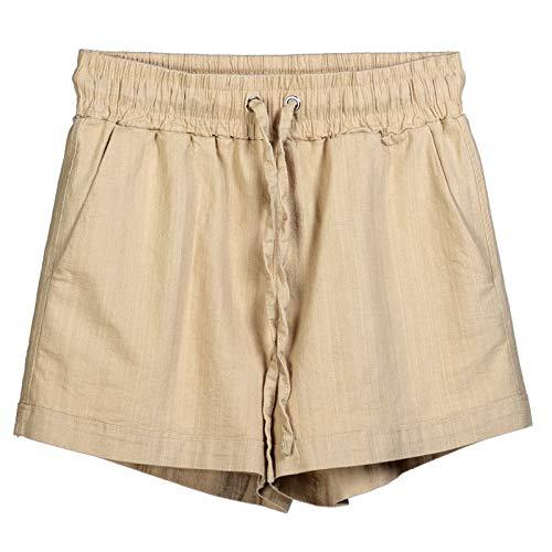 Pantalones Cortos para Mujer Moda de Primavera y Verano Pantalones Cortos de Cintura elástica con cordón de Todo fósforo Pantalones Cortos elásticos Deportivos Casuales de Pierna Ancha Sueltos 3XL