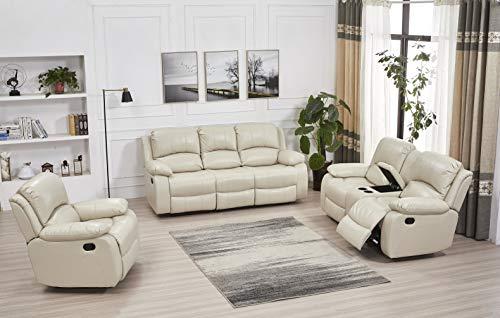 Betsy Furniture Bonded Leather Recliner Set Living Room Set, Sofa, Loveseat, Chair 8018 (Beige, Living Room Set 3+2+1)