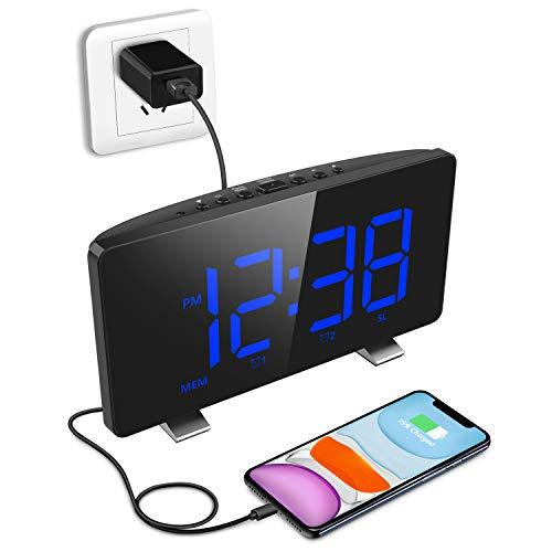 Digital Alarm Clock, ELEGIANT Alarm Clocks for Bedrooms with FM Radio, Dual Alarms, 7.3'' LED Screen, USB Port for Charging, 4 Brightness, 12/24H, Automatic Dimmer, Snooze Digital Clock for Kid Senior