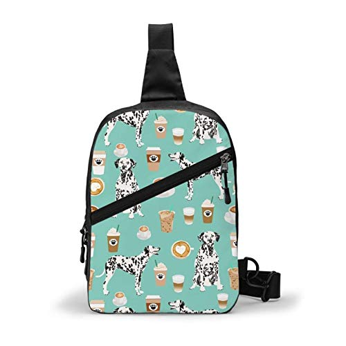 MGVDSES Dalmatians Cute Mint Coffee Best Dalmatian Dog Print Sling Bag Chest Shoulder Backpack Crossbody Foldable Daypack for Hiking Sport