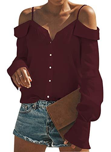 WOZNLOYE Mujer Sexy Cuello V Sin Hombro Blusas Color Sólido Tops Moda Hoja de Loto Lado Camisas Verano Camisetas (L, 0983 Vino Tinto)