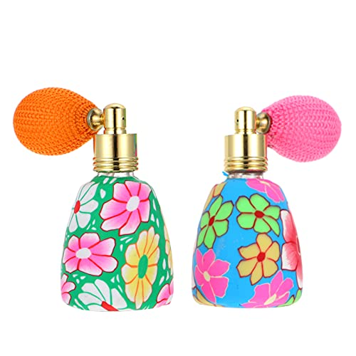 PIXNOR Botella de Perfume Vintage con Recargable 13Ml con Bombilla de Aire Contenedor de Fragancia con Patrón de Flores para Perfumes Fragancia de Aromaterapia Color Aleatorio