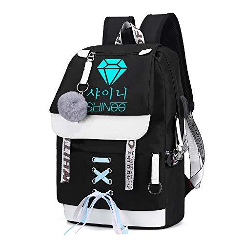 Shinee Rucksack für Kinder und Jugendliche Rucksack-Schul Trekking Rucksack Wandern Bag Trend Damenmode Wild Style Sport Daypack Erwachsener Lässige Kinder (Color : Black02, Size : 43 X 30 X 16cm)