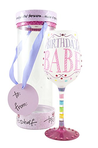 """Top Shelf """"Birthday Babe"""" Decorative Frosted Wine Glass ; Fun & Unique Gifts for Women ; Hand Painted Red or White Wine Glass for Friends and Family ; Multicolor"""