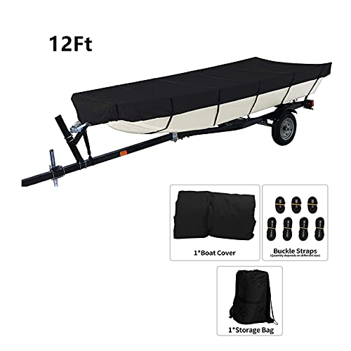 munirater Boat Cover Waterproof Heavy Duty Trailerable Replacement for Jon Boat 12Ft Long and Beam Width Up to 56 Inch Black