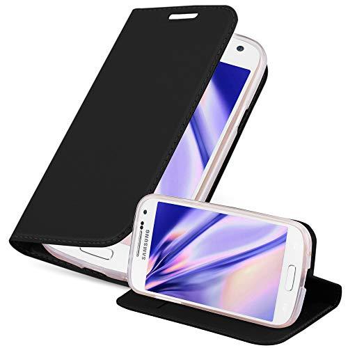 Cadorabo Hülle für Samsung Galaxy S4 Mini - Hülle in SCHWARZ – Handyhülle mit Standfunktion und Kartenfach im Metallic Look - Case Cover Schutzhülle Etui Tasche Book Klapp Style