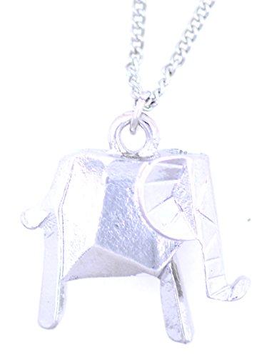 lizzyoftheflowers–Super Niedlicher Silber Origami Elefant Halskette, sieht wie eine Papier Elefant zusammenklappbar, allerdings aus Metall