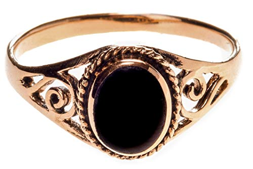 WINDALF Zarter Ring LUCY h: 0.9 cm Schwarzer Onyx mit Lebens Spiralen edle Bronze (Bronze, 62 (19.7))