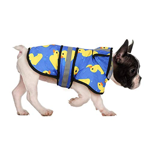 HDE Dog Raincoat Hooded Slicker Poncho for Small to X-Large Dogs and Puppies (Rubber Ducks, Medium)
